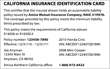 amica proof of insurance card wallet size