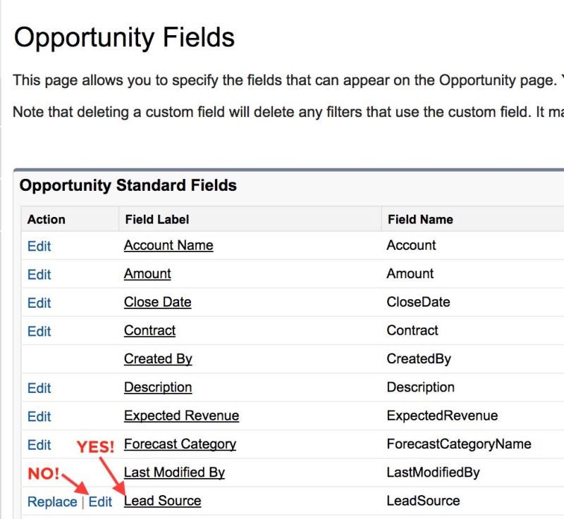 Click SalesForce field label to change picklist items