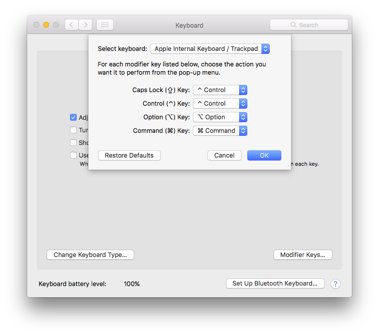 MacOS System Preferences Keyboard Caps Lock mapping