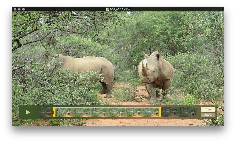 QuickTime Player trim video clip