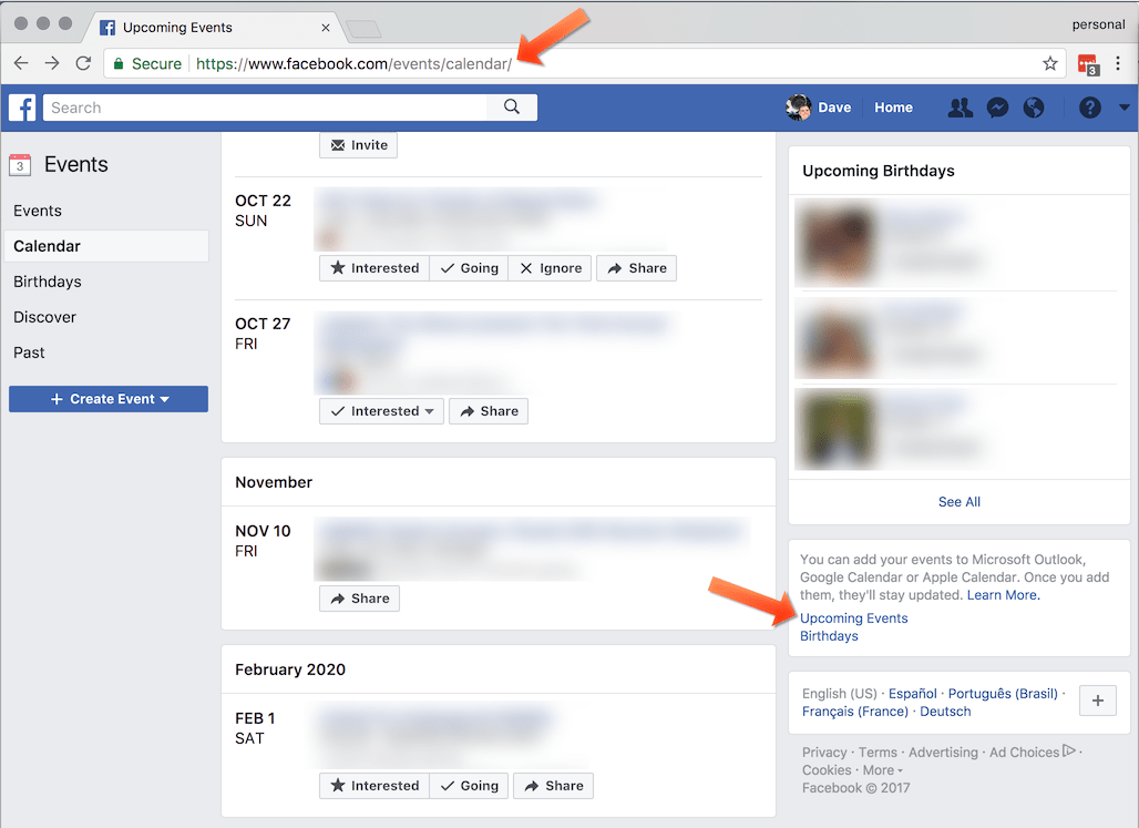 Add your Facebook events to your Google, Apple, Outlook or