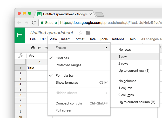 Google sheet freeze row
