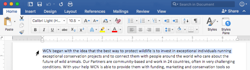 Select a line of text in Microsoft Word