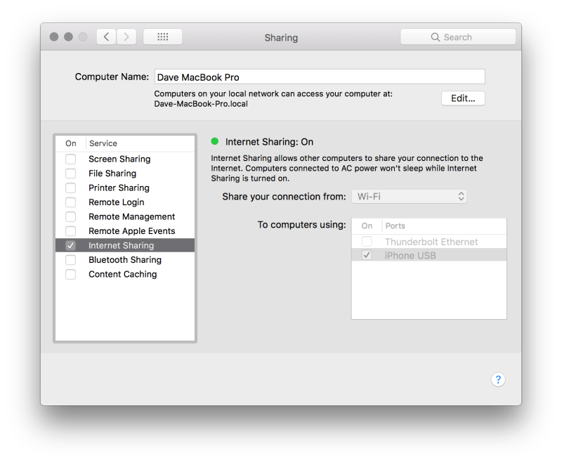 MacOS Internet Sharing System Preferences