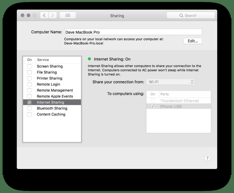 MacOS Internet Sharing System Preferences